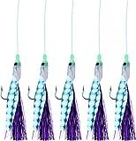 Storfisk fishing & more Makrelenpaternoster Meeresköder System mit 5 Armen Lila Haare Leuchtperlen 160cm