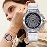 Women Watches Fossil 245mm Quartz Wristwatch with Silicone Band for Women Girl, Model/98003 (Silver - A003)