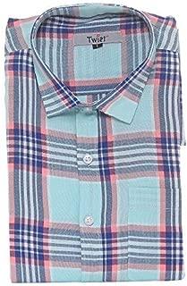 Champa Men's Italian Cotton Checkered Half Sleeve Shirt (Multicolour)
