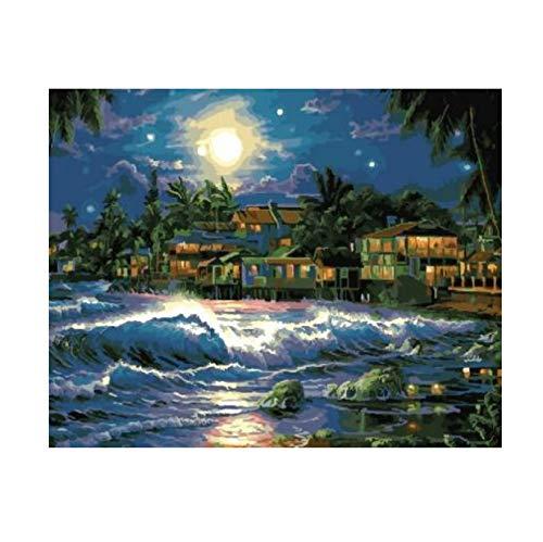 OKOUNOKO Peinture Au Numéro Lune Lumineuse Au-Dessus De L'Île, Peinture sur Toile Peinte par Numéro Peint À La Main des Tableaux Décoratifs pour Salon 40X50Cm sans Cadre