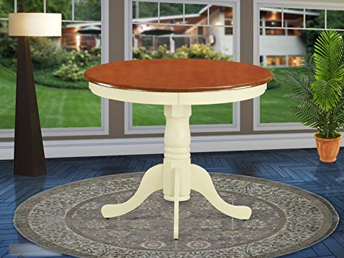 East West Furniture ANT-WHI-T Antique Dining Room Table-Cherry Table Top Surface and Buttermilk Finish legs Hardwood Frame Pedestal Dining Table