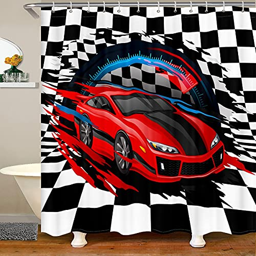 Red Race Car Shower Curtain 72'W x 72'L Extreme Sports Bathroom Sets Sports Car Racer Bath Curtain Racing Vehicle Speed Games Automobile Fabric Shower Curtains Sets Waterproof Child Room Decor