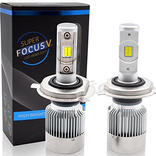 BeiLan Bombilla H4 LED Coche,60W 10000LM Faros Delanteros Bombillas para Moto, Reemplazo de la Luz Halógena, 12V-24V, Xenon Blanco 6500K, 2 Lámparas
