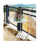 GQFGYYL-QD Balcón Barandilla Mesa Colgante Colgante De Pared Mesa De Bar Mesa De Comedor Mesa Colgante Plegable Al Aire Libre Mesa De Hierro De Ocio Negro,Blanco