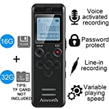 3. 16GB Digital Voice Activated Recorder for Lectures - aiworth 1160 Hours Sound Audio Recorder Dictaphone Voice Activated Recorder Recording Device with Playback,MP3 Player,Password,Variable Speed