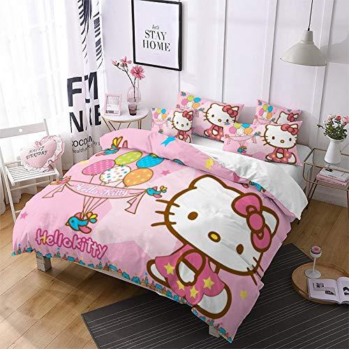 Amacigana Juego de ropa de cama 3D Hello Kitty para niñas, 100% microfibra, ropa de cama para...