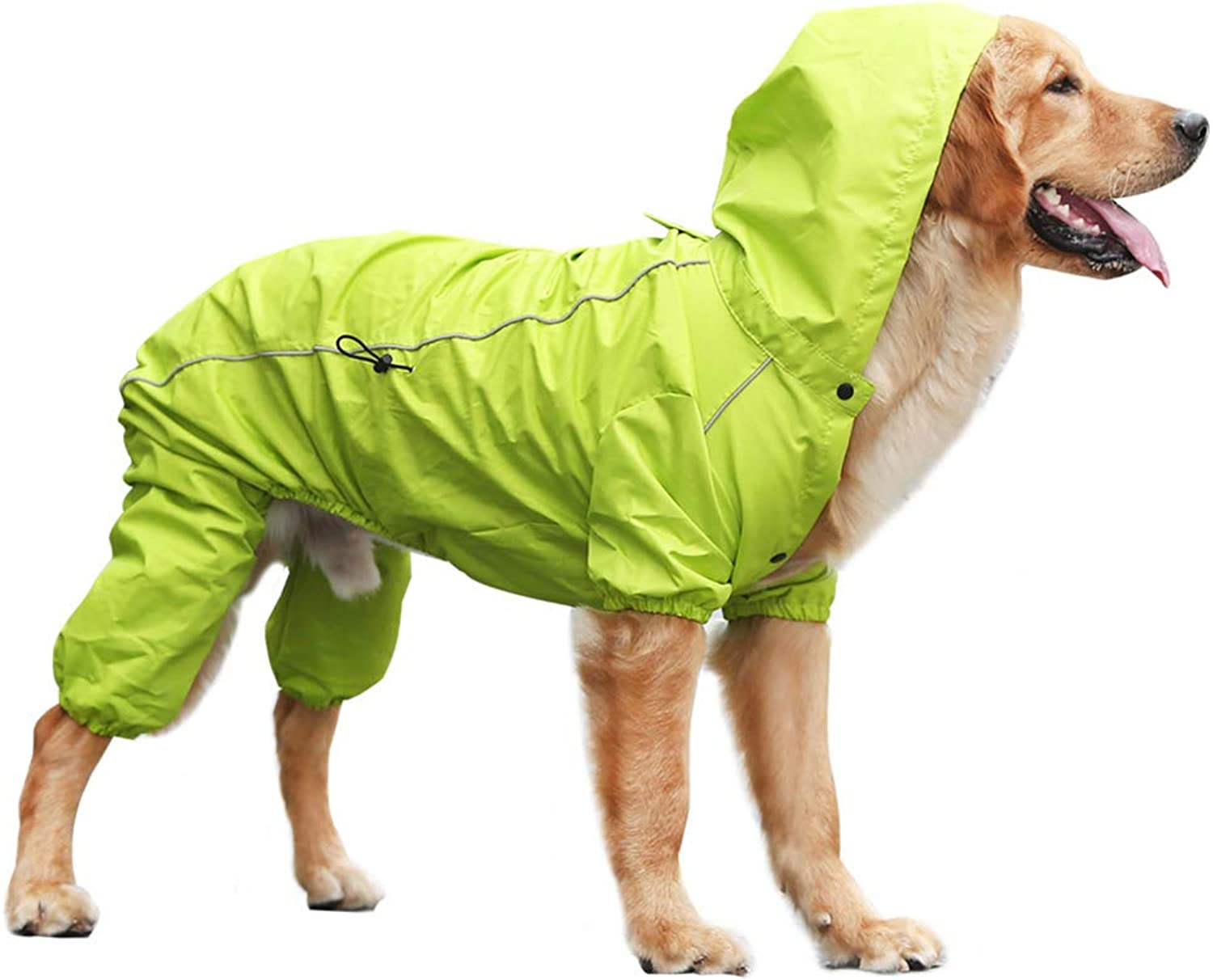 Dog Raincoat Hooded,Dog Rain Poncho Inner Breathable mesh Comfortably Breathable FourLegged Abdomen tightens for a Closer Look Scratch Resistant,Green,L