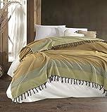 Belle Living Artemis Tagesdecke Überwurf Decke - Wohndecke hochwertig - perfekt für Bett & Sofa, 100prozent Baumwolle - handgefertigte Fransen, 200x250cm (Schwarz) (Gelb)