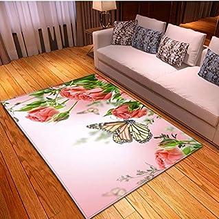 QNYH Alfombra Estilo De Dibujos Animados Decoración De Dormitorio para Niños 3D Mariposa Imprimir Alfombra Rectangular Absorbente De Agua 140cmx200cm
