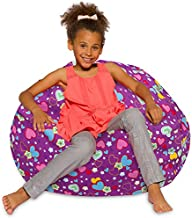 Posh Creations Bean Bag Chair for Kids, Teens, and Adults Includes Removable and Machine Washable Cover, 38in - Large, Canvas Multi-colored Hearts on Purple