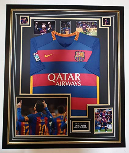 www.signedmemorabiliashop.co.uk NIEUW LIONEL MESSI van Barcelona Ondertekend Foto en Shirt Display