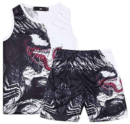 XIKONG Pantalones Cortos y Camisetas Conjuntos Top Traje Corto Sports Traje Sistema Kid 2pcs Sports Traje de Verano O-Cuello Camisa Algodón Corto Athetic Running Sets Sets White-120cm