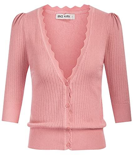 GRACE KARIN Femme Cardigan Automne et Hiver Manches Longues Vêtements de Maison Manches Bouffantes Rose M