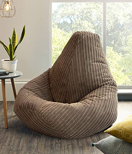Jumbo Cord Beanbag Chair, Extra Large Bean Bags in Plush Jumbo Cord High back Beanbags, Lounger, Jumbo Cord Beanbags, Recliner Highback (Brown)