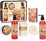 BRUBAKER Cosmetics Set de Baño y Ducha'Garden Flowers' - Fragancia de Flores de adormidera - Set de regalo de 7 piezas en una cesta decorativa rústica