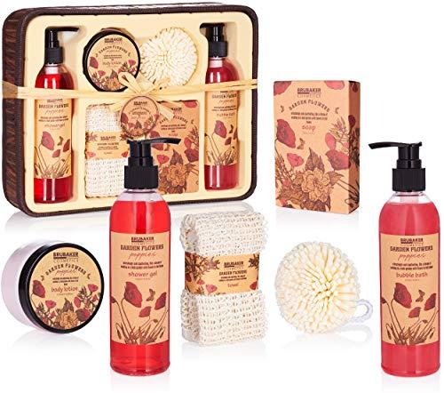 BRUBAKER Cosmetics Bade- und Dusch Set Mohnblumen Duft - 7-teiliges Geschenkset im rustikalem Deko-Korb