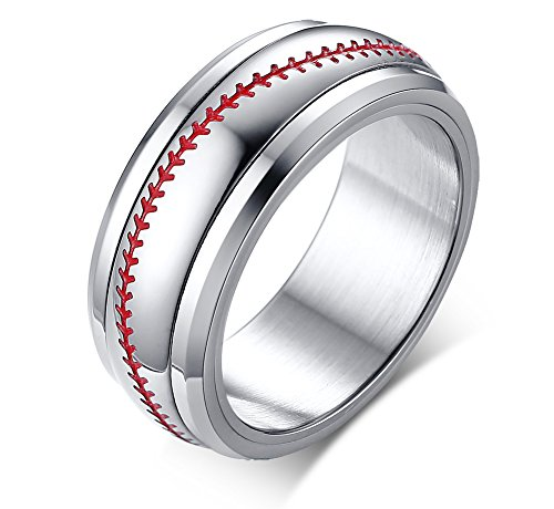 VNOX 8mm Cool Stainless Steel Two Tone Red and White Baseball Softball Sport Spinner Ring for Men,Size V 1/2
