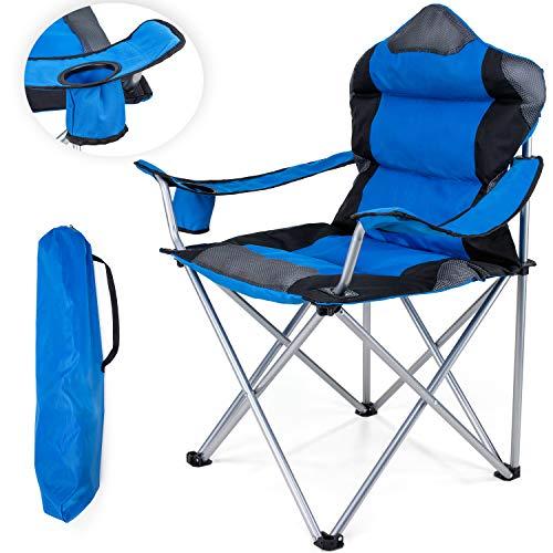 TRESKO Campingstuhl faltbar bis 150 kg   Angelstuhl Faltstuhl Klappstuhl mit Armlehnen und Getränkehalter (Blau)