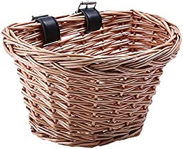 ONEVER Handlebar Bike Basket,Wicker Front Handlebar Bike Basket, Bicycle Accessory