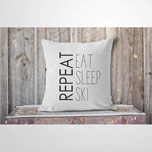 IUYG Eat Sleep Ski - Funda de almohada de microfibra suave para el hogar