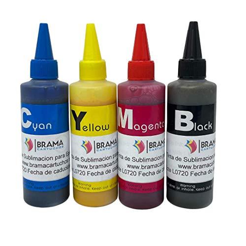 4 Botes DE 100ML DE Tinta DE SUBLIMACION. Compatible con IMPRESORAS EPSON DE 4 Colores BRAMACARTUCHOS