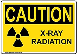 Caution X-Ray Radiation OSHA Safety Label Decal, 5x3.5 in. 4-Pack Vinyl for Medical Facility Hazmat by ComplianceSigns