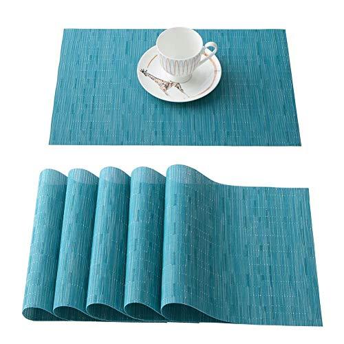 OSVINO 6er Set Platzsets PVC Platzmatten abwaschbar hitzebeständig für Esszimmer Speisetisch 45 x 30cm, Blau, 6 x Platzsets