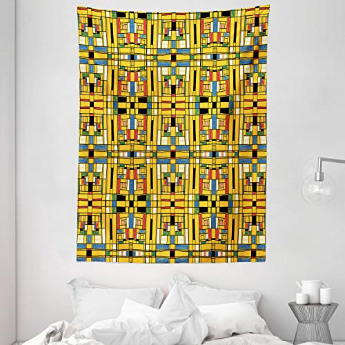 Lunarable Abstract Tapestry, Mondrian Cubes Pop Art Style Colorful Rectangular and Squared Shapes, Wall Hanging for Bedroom Living Room Dorm Decor, 60' X 80', Mustard and Multicolor