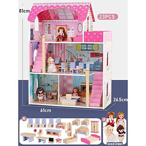 OUPAI Häuser für Modepuppen Holzpuppenhaus, 3-Geschichte Puppenhaus und Möbel Kit mit Möbel und Puppen, Pretend Play House, for Kleinkinder 2-10 Jährige (Size : 23pcs)
