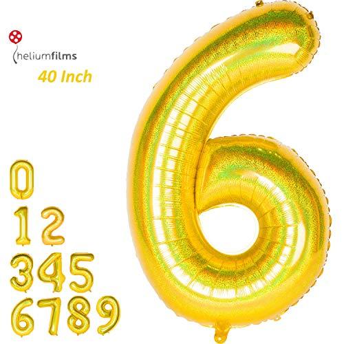 Dizoony Globos Numéricos Jumbo Balloon Foil de cumpleaños Decoración Fuentes de Fiesta Regalo di Natale (Laser Dorado, 6)