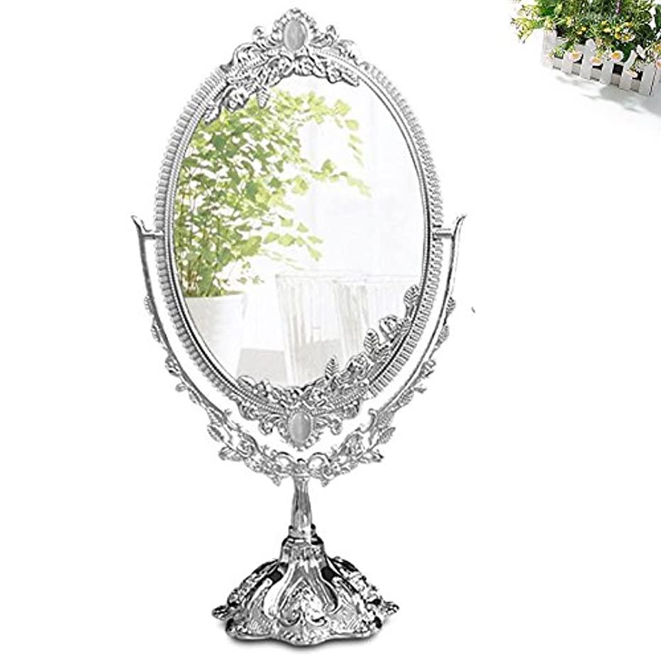 KINGFOM Antique Two Sided Swivel Oval Desktop Vanity Makeup Mirror with Embossed Roses and Mounted Beads for Home, Jewelry or Watches Cosmetics Showcase (Silvery, Large)