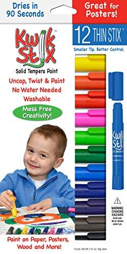 Pencil Grip Kwikstix Thin Stix Solid Tempera Paint, Super Quick Drying, 12 Classic Colors (TPG-608) Paint,Assorted classic.