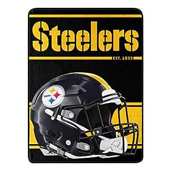 Northwest NFL Pittsburgh Steelers 46x60 Micro Raschel Run Design Rolled Blanket Team Colors One Size  1NFL059050078RET