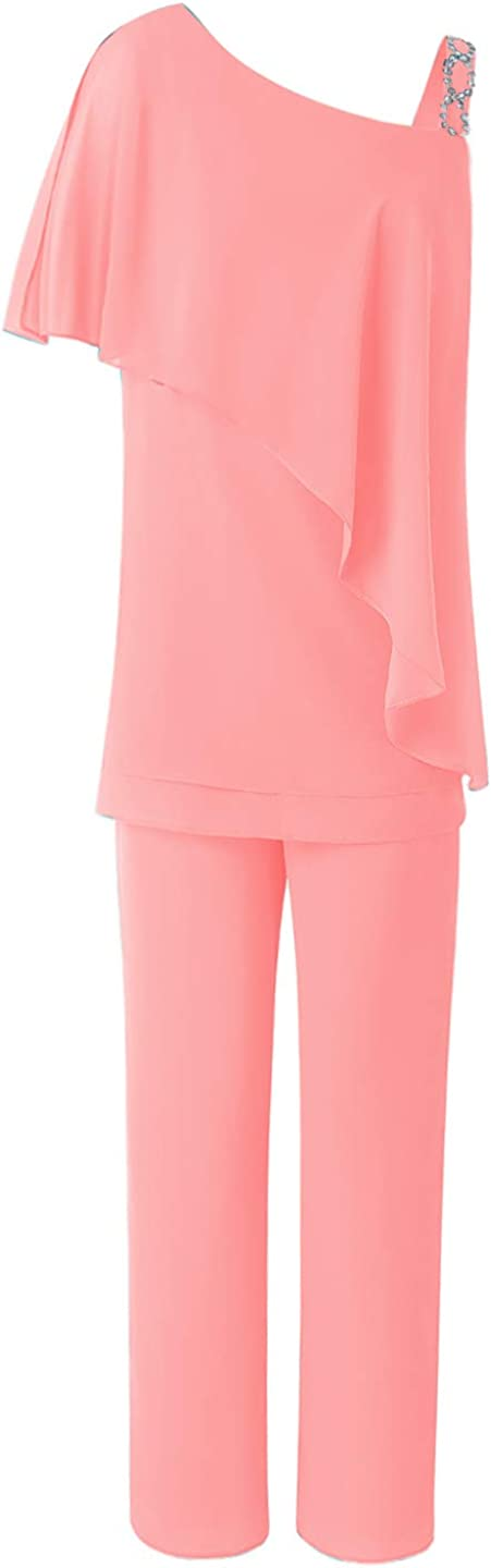 Women's 2 Pieces Ruffles Chiffon Mother of Bride Dress Pants Suit Sleeveless for Wedding(US 18 Plus, Coral)