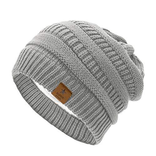 Durio Mütze Damen Winter Strickmütze Grobstrick Warme Beanie mit Innenfutter Hell Grau