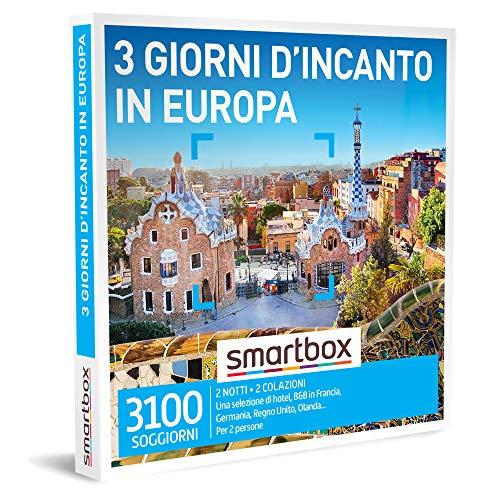 smartbox - Cofanetto Regalo Coppia - 3 Giorni d'incanto in Europa - Idee Regalo Originale - 2 Notti con Colazione per 2 Persone