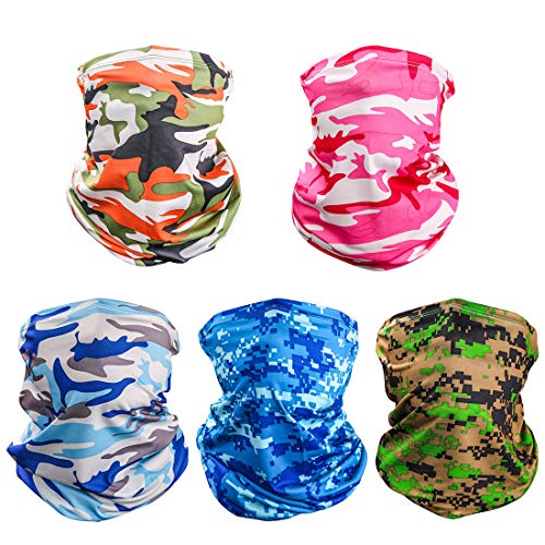 LUOLIIL VOE Neck Gaiter UV Face Mask for Dust and Sun Protection Multifunctional Summer Balaclava Headband Face Scarf for Fishing Hiking Cycling & Hiking 5 in 1 Women Men (Camouflage (5 Pack)) …