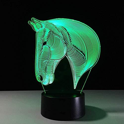 3D Led Night Light Horse head7 Color para niños Lámpara de mesa USB Touch Baby Sleeping Room Regalo para mamá-16 color remote control