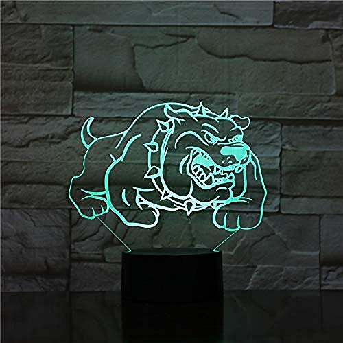 LED 3D Ilusión Luz Nocturna Infantil Bulldog americano Ilusión Lámpara de mesa Luces con para la decoración del partido Presentes de cumpleaños Con interfaz USB, cambio de color colorido