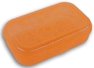 Neon Orange Transparent Pencil Box Case with Circle Patterned Lid