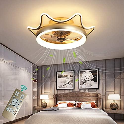 DULG 3 aspas Creative Crown Luz de techo Temporizador Regulable Ventilador reversible Luz de techo con LED y candelabro remoto Habitación de los niños Dormitorio Sala de estar Ventilador invisible Lám