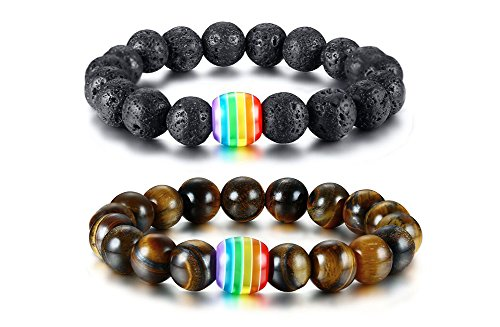 VNOX 2 UNIDS Arco Iris Hecho A Mano Ojo de Tigre Pulsera de Cuentas de Piedra de Lava Natural Volcánica Orgullo Gay y Lésbico
