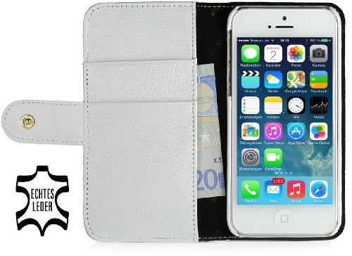 StilGut Leder-Hülle kompatibel mit iPhone 5/5s/iPhone SE Brieftasche mit Karten-Fächer & Druckknopf, Weiß