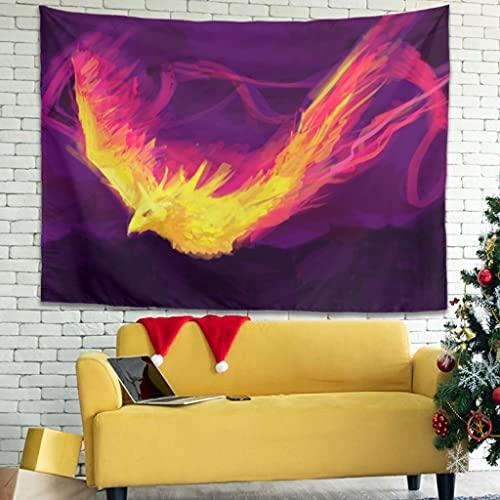 Magiböes Tapisseries Phoenix - Decoración de pared (150 x 130 cm), diseño abstracto de fuego, color blanco