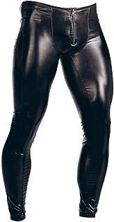 Milisten Pantaloni in Pelle da Uomo Pantaloni con Cerniera Sexy Pantaloni Lunghi Night Club Costume Attillato Slim Club pe...