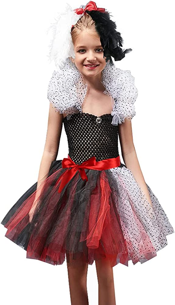 Cruella Deville Costume Kids Girls Max 67% OFF Large special price Knitted Hand Tutu+ Tulle Made