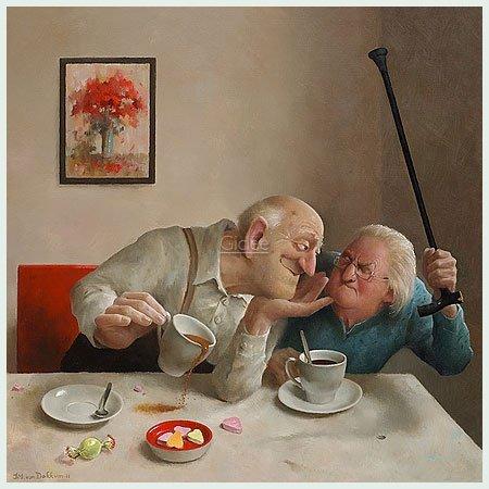 Bild mit Rahmen Marius van Dokkum - Unrequited Love - Alimunium silber glänzend, 30 x 30cm - Premiumqualität - , Karikatur, Senioren, Opa, Oma, Kaffeetrinken, verschmähte Liebe, Abwehr, Drohung, Gehsto.. - MADE IN GERMANY - ART-GALERIE-SHOPde