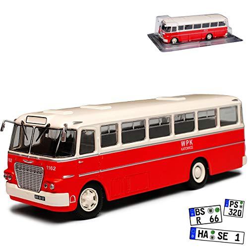 Unbekannt Ikarus 620 DDR Bus Reisebus Rot 1/72 Modellcarsonline Modell Auto mit individiuellem Wunschkennzeichen