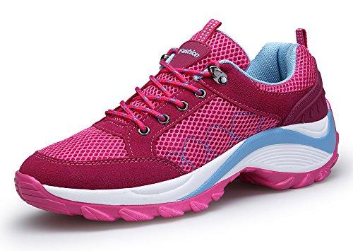 KOUDYEN Damen Turnschuhe Laufschuhe Fitnessschuhe Freizeit Atmungsaktive Mesh Sportschuhe,XZ006-pink1-EU40