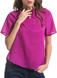 GRMO Women Solid Slim Short-Sleeve Chiffon Plus Size V-neck Top T-Shirt Blouse Rose Red 6XL